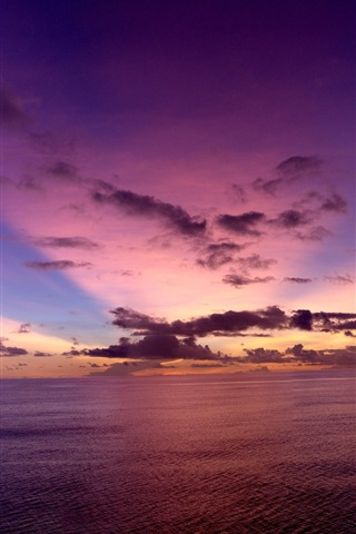 iPhone Wallpaper Pacific Ocean, evening, sunset, sky, clouds