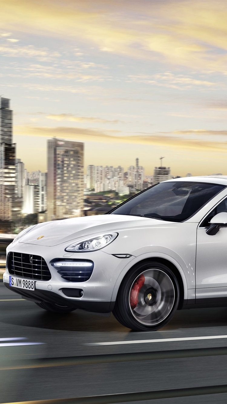 Porsche Cayenne White Car City Road Skyscrapers 750x1334