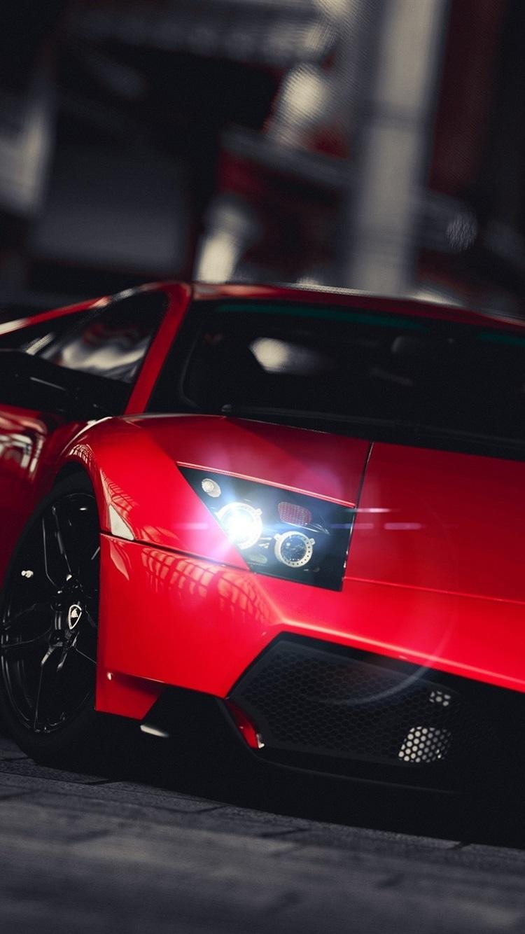 壁紙 レッドランボルギーニは 都市の夜正面スーパーカー 2560x1440