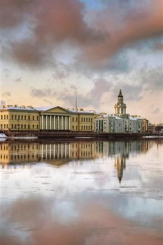 iPhone Wallpaper Saint-Petersburg, houses, river