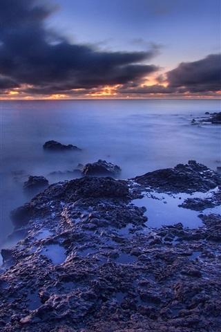 iPhone Wallpaper Sea, beach, dawn, clouds, sunrise