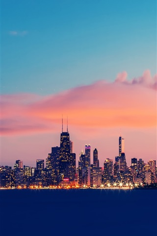 iPhone Wallpaper USA, Illinois, Chicago, Lake Michigan, buildings, evening, sky, clouds