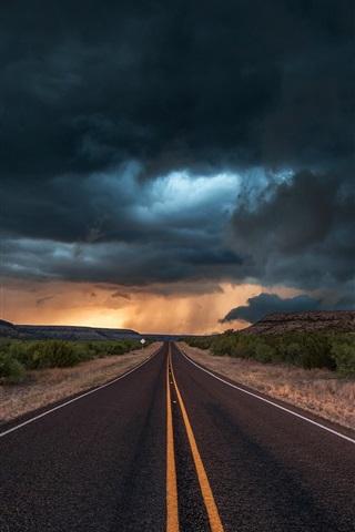 iPhone Wallpaper USA, Texas, road, asphalt, evening, clouds, storm