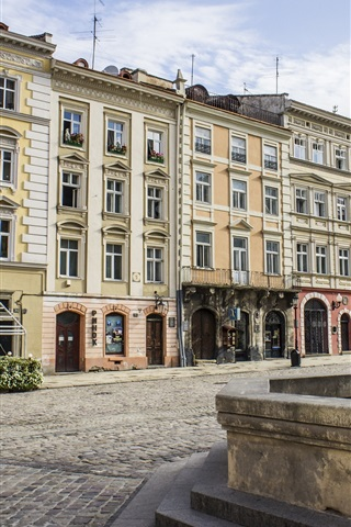 iPhone Wallpaper Ukraine, Lviv, Rynok Square, fountain, houses