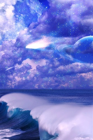 iPhone Wallpaper Art pictures, space, sky, clouds, stars, planet, sea, waves