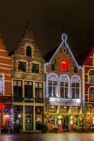 Bélgica Brujas La Plaza Grote Markt Noche Luces Casa