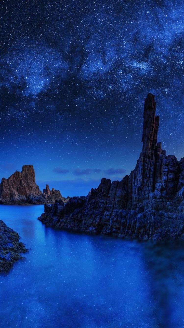 蓝色巨石 岩石 星 海 夜晚750x1334 Iphone 8 7 6 6s 壁纸 图片