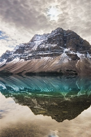 iPhone Wallpaper Bow Lake, Alberta, Canada, clouds, water reflection