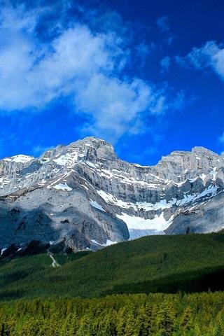 iPhone Wallpaper Cascade Mountain, Banff National Park, Alberta, Canada, forest