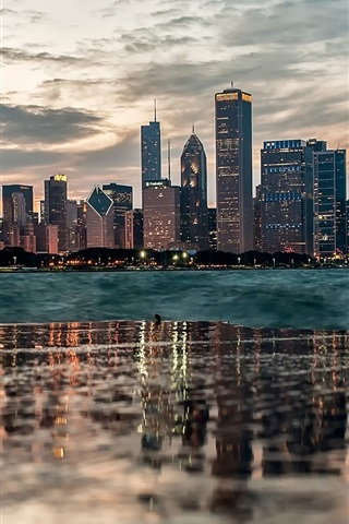 iPhone Wallpaper Chicago, water reflection, buildings, river, dusk, clouds