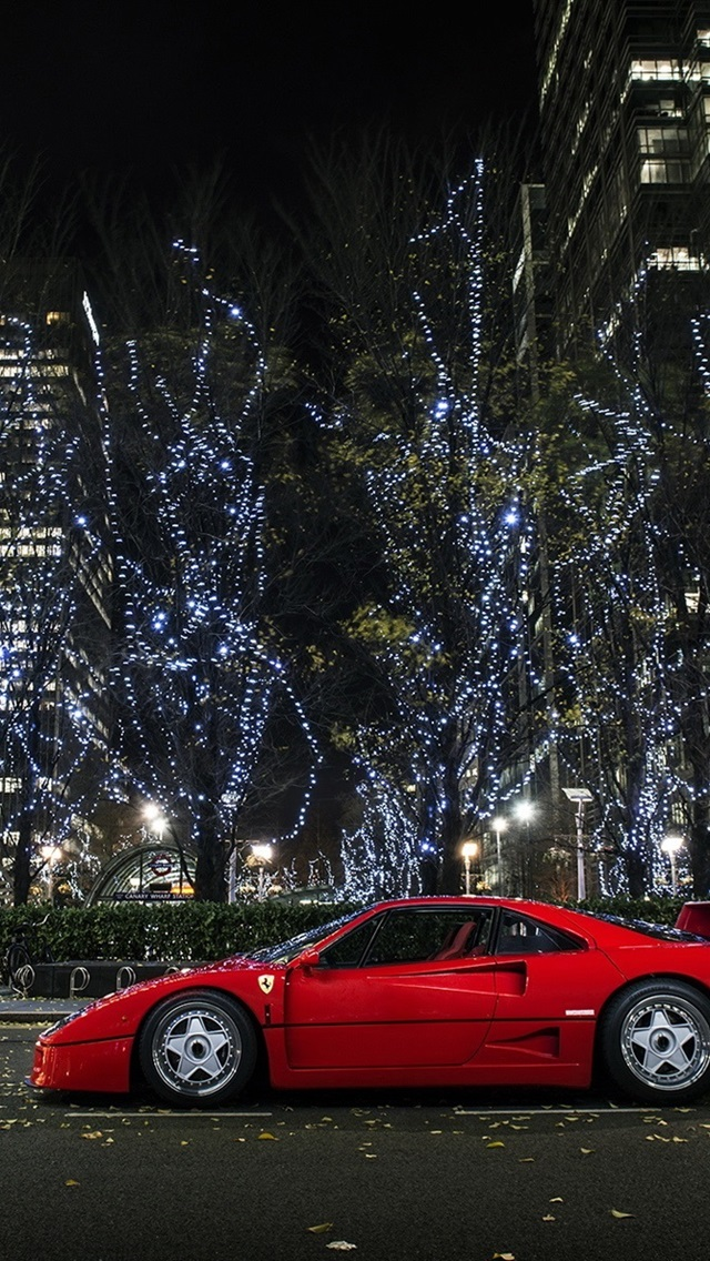 Ferrari F40 Supercar City Night Lights 640x1136 Iphone 5 5s 5c Se