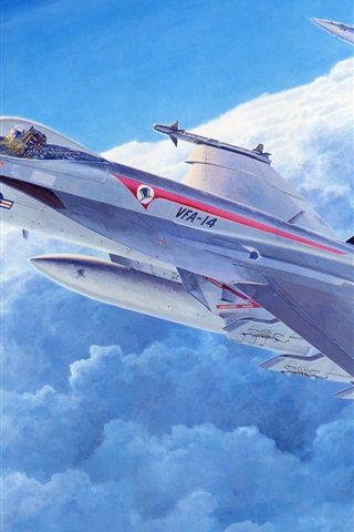 iPhone Wallpaper Fighter aircraft, art pictures, sky, clouds