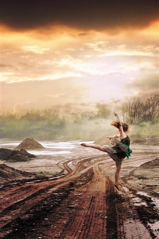 iPhone Wallpaper Girl dance at rain, road, creative art