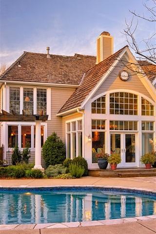 iPhone Wallpaper House, building, yard, pool