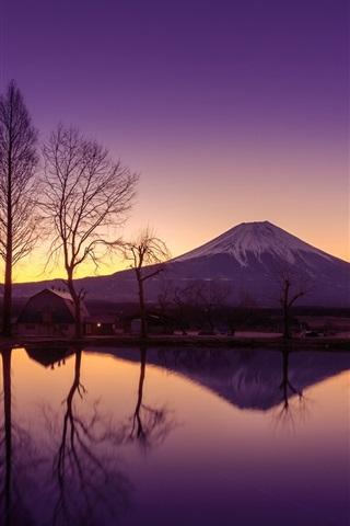 iPhone Wallpaper Japan, Honshu, volcano, Fuji mountain, morning, water, reflection