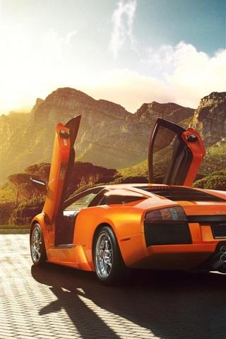 Vista Naranja Superdeportivo Lamborghini Murcielago Volver V12