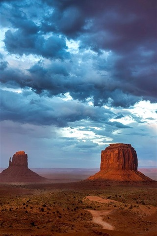 iPhone Wallpaper Monument Valley, USA, mountains, sky, blue clouds, evening