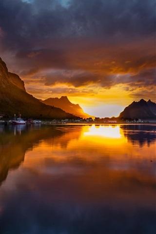 iPhone Wallpaper Norway, Reine, mountains, sunset, lake