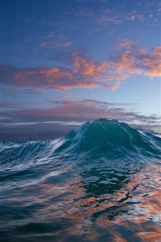 iPhone Wallpaper Ocean, sunset, sea wave, water