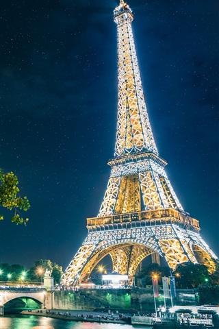 iPhone Wallpaper Paris, The Eiffel Tower, city, night, lights