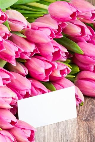 iPhone Wallpaper Pink flowers, tulips, bouquet