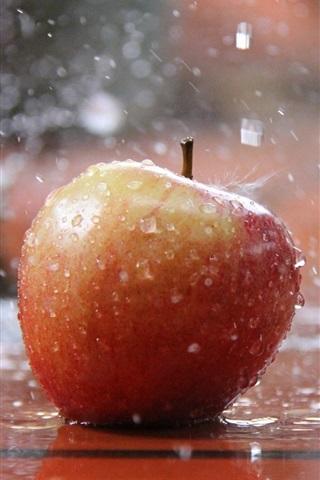 iPhone Wallpaper Red apple in the rain, water splash