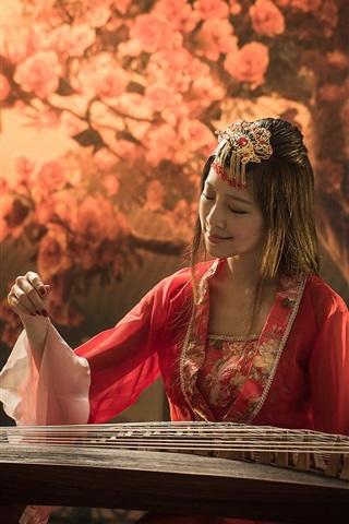 iPhone Wallpaper Red dress girl, asian, music, guzheng