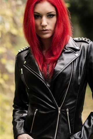 iPhone Wallpaper Red hair girl, leather jacket