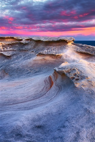 iPhone Wallpaper Rocks, purple sky, coast, sea, sunset