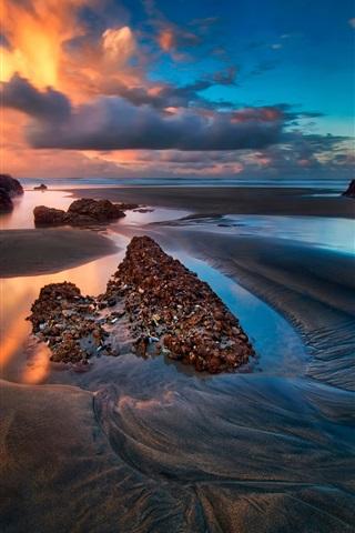 iPhone Wallpaper Sea, rocks, sky, clouds, sunset