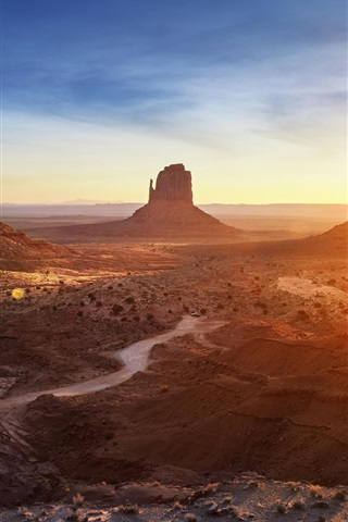 iPhone Wallpaper Arizona, Monument Valley, sunset, mountains, desert