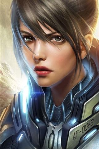 iPhone Wallpaper Art fantasy girl, metal armor