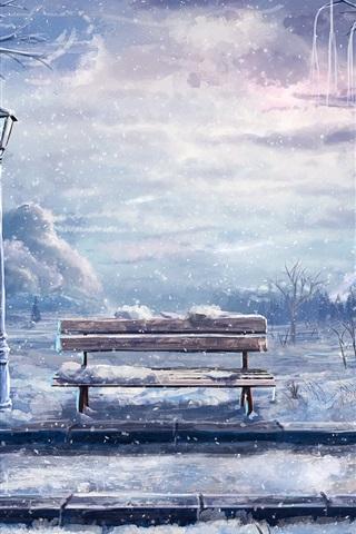 iPhone Hintergrundbilder Kunst, Malerei, Winter, Schnee, Sitzbank, Laterne, Bäume