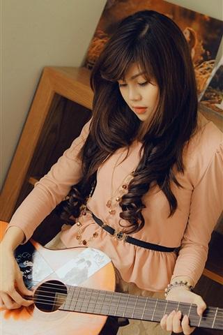 iPhone Wallpaper Asian girl, guitar, room, music