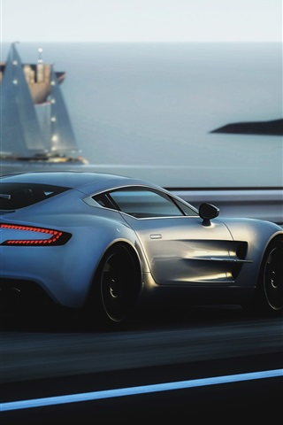iPhone Wallpaper Aston Martin ONE-77 supercar speed