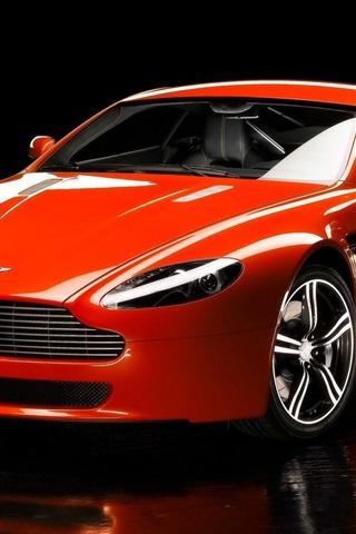 iPhone Wallpaper Aston Martin V8 red sport car