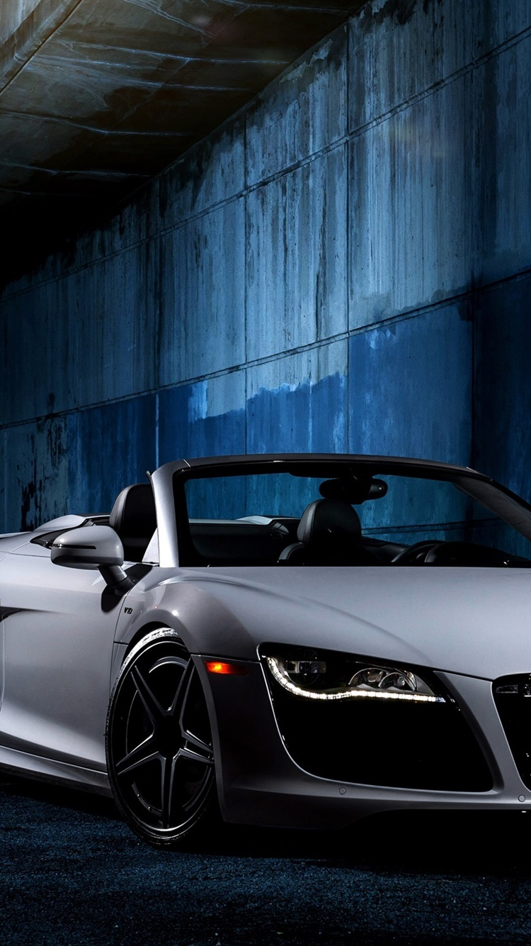 Audi R8 V10 White Car Front View 750x1334 Iphone 8 7 6 6s