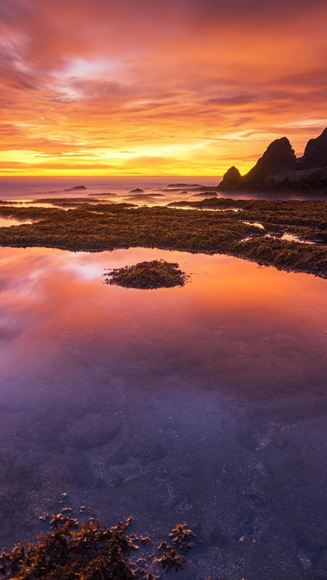 Bali Indonesia Coast Sunset Red Sky 640x1136 Iphone 55s