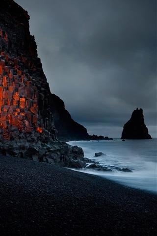 iPhone Wallpaper Beach, rock, coast, dusk