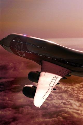 iPhone Wallpaper Boeing 747 aircraft flight, clouds, sun