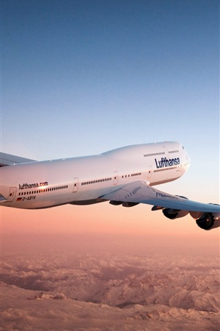 iPhone Wallpaper Boeing 747 aircraft in the dusk