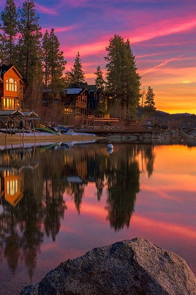 배경 화면 미국 캘리포니아 타호 호수, 일몰, 바위, 나무, 집 1920x1080 풀 HD 2K 그림, 이미지