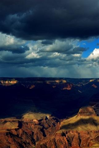iPhone Wallpaper Grand Canyon, clouds, shadows, dusk