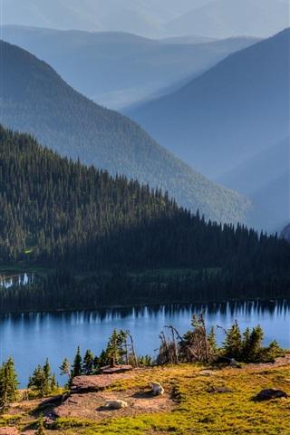 iPhone Wallpaper Hidden Lake, Banff National Park, Alberta, Canada, sky, mountains, trees