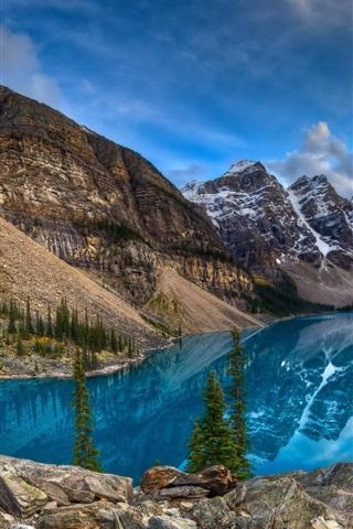 iPhone Wallpaper Lake, mountains, blue sky