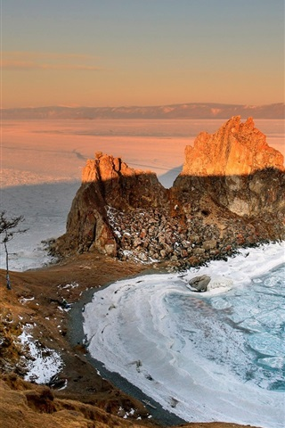iPhone Wallpaper Russia, Baikal, morning, dawn, sunrise, winter