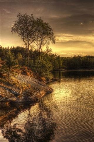 iPhone Wallpaper Sweden, lake, evening, trees
