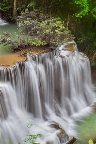 iPhone Wallpaper Thailand, waterfalls, trees