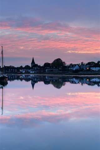 iPhone Wallpaper UK, England, town, evening, sunset, houses, lake, boat, water