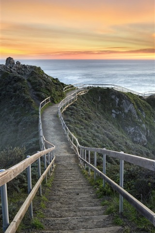 iPhone Wallpaper United States, California, Mill Valley, sunset, sea, stairs